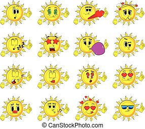 Cartoon sun making a point.