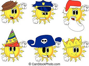 Cartoon sun making power to the people fist gesture
