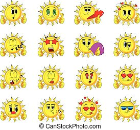 Cartoon sun making thumbs up sign with two hands.