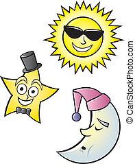 Cartoon Sun Moon and Star - A cartoon depiction of a...