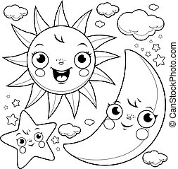 Cartoon sun, moon and stars. Vector black and white coloring page.