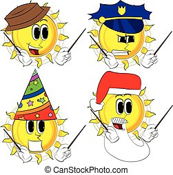 Cartoon sun orchestra conductor. Collection with costume....