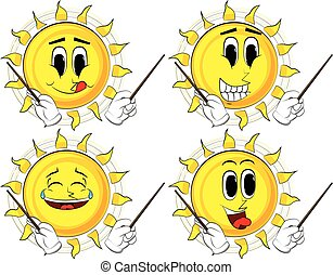 Cartoon sun orchestra conductor. Collection with happy...