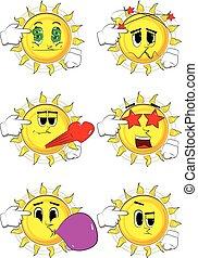 Cartoon sun put an imaginary gun to his head.