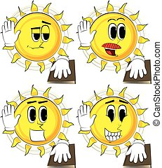 Cartoon sun raising his hand and put the other on a holy book.
