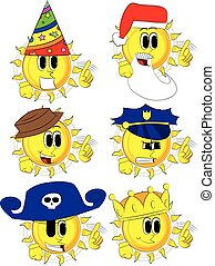 Cartoon sun saying no with his finger.