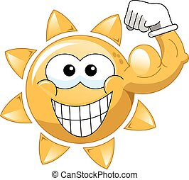 Cartoon sun showing biceps