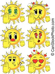 Cartoon sun showing deny or refuse hand gesture.
