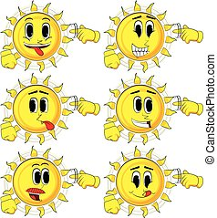 Cartoon sun shows a you're nuts gesture by twisting his finger around his temple.