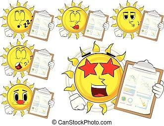 Cartoon sun shows finance report.