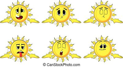Cartoon sun shrugs shoulders expressing don't know gesture. ...