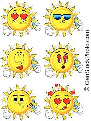 Cartoon sun talking on cell phone.