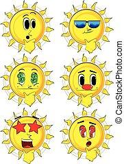 Cartoon sun thinking.