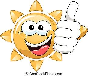 Cartoon sun thumb up