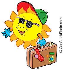 Cartoon sun traveller - isolated illustration.
