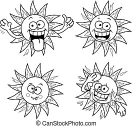 Cartoon sun vector set. Vector black and white coloring page