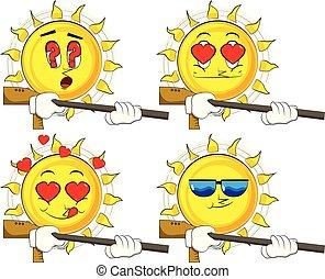 Cartoon sun with a big gun.