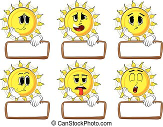 Cartoon sun with blank paper on wood.