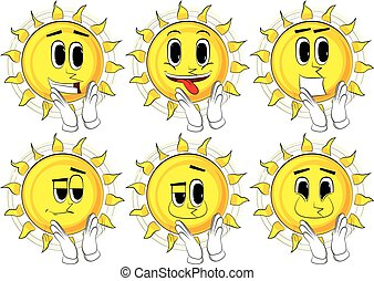 Cartoon sun with clapping hands.