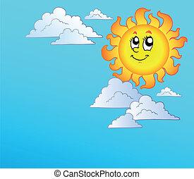 Cartoon Sun with clouds on blue sky - vector illustration.