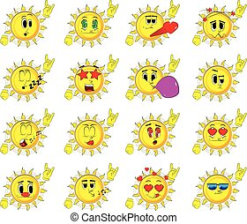Cartoon sun with hands in rocker pose. Collection with...