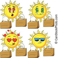 Cartoon sun with two suitcase.