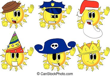 Cartoon sun with waving hands with costume.