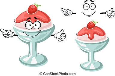Delicious cartoon sundae ice cream dessert character in glass with fruity sauce and fresh strawberry. For dessert menu theme