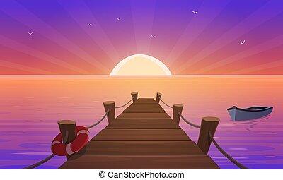 Cartoon Sunset At Pier