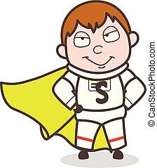 Cartoon Super Astronaut Character Vector Illustration