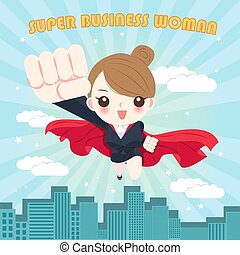 cartoon super business woman
