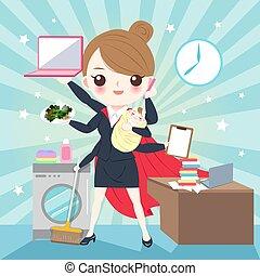 cartoon super business woman