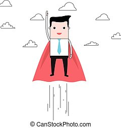 Cartoon super businessman flying