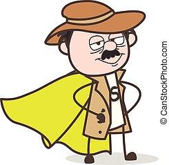 Cartoon Super Hero Detective Vector Character