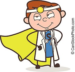 Cartoon Super Hero Doctor Vector Illustration