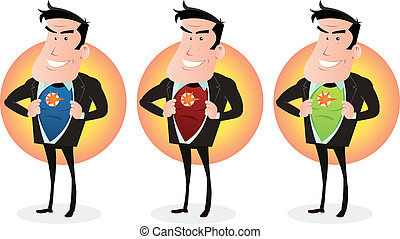 Cartoon Super Hero Double Identity Set - Illustration of a...