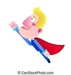cartoon super hero man with cloak flying