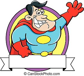 Cartoon Super Hero with a Banner
