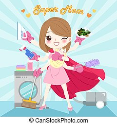 cartoon super mom