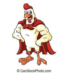 Cartoon super rooster posing. vector illustration