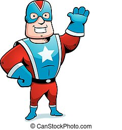 A happy cartoon superhero waving and smiling.