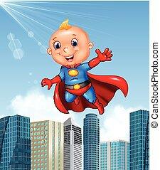 Cartoon superhero boy with skyscraper background