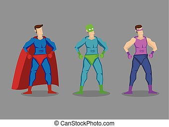 Cartoon Superhero Character Design Vector Illustration - Set...