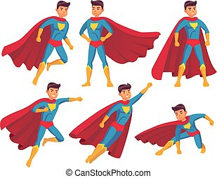 Cartoon superhero character. Muscular male standing in super cool pose in superheroes costume with waving cloak. Hero vector collection