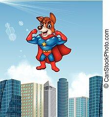 Cartoon superhero dog with skyscraper background