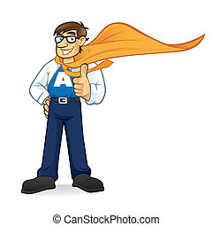 Cartoon superhero geeks businessman smiling friendly and thumbs-up wearing formal dress with a shirt open to reveal its name symbol and wear cape blowing in the wind