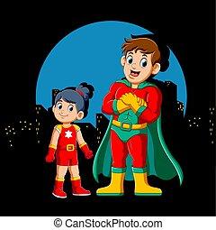 Cartoon Superhero Man and his daughter