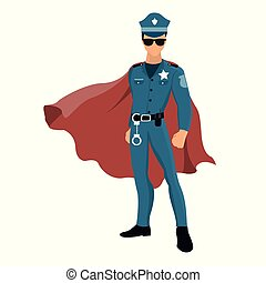 Cartoon superhero policeman with red cape