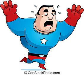 A cartoon superhero sweating and running scared.
