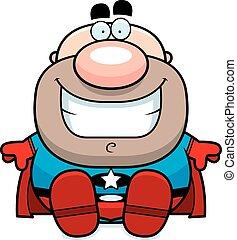 Cartoon Superhero Sitting
